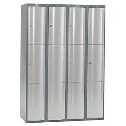 Szafa szatniowa Curve 4 sekcje 12 drzwi 1740x1200x550 mm jasnoszary met