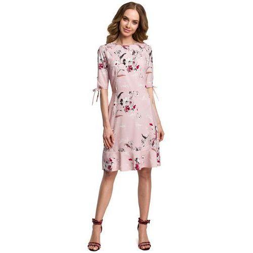 Suknie i sukienki, Pudrowa Zwiewna Sukienka w Kwiaty z Falbankami