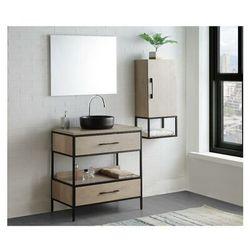 Zestaw mebli łazienkowych YAMINA – szafka pod umywalkę i umywalka, lustro, wysoka szafka – drewnopodobny