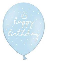 BALON HAPPY BIRTHDAY PASTELOWY BŁĘKIT 30cm 1/6