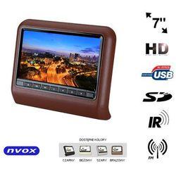 "NVOX VR7017HD BR Monitor samochodowy zagłówkowy LCD 7"" cali LED HD DVD USB SD IR FM GRY 12V"