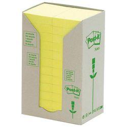 Bloczek samoprzylepny ekologiczny POST-IT® (653-1T), 38x51mm, 24x100 kart., żółty