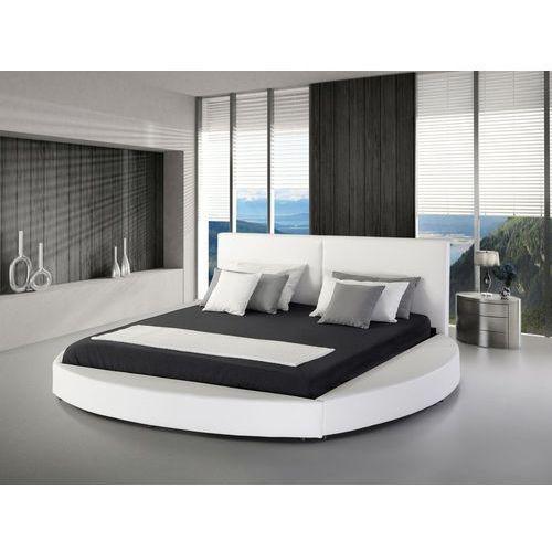 Pozostałe meble do sypialni, Łóżko skórzane 180 x 200 cm białe LAVAL