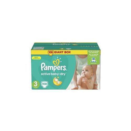Pieluchy jednorazowe, Pieluszki Pampers Active Baby-dry rozmiar 3 Midi, 108 szt.