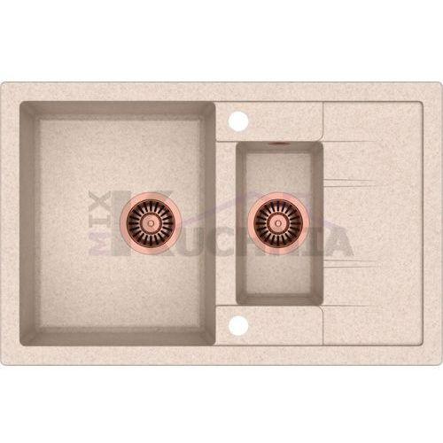 zlewozmywak morgan 156 beżowy metalik / odpływ miedziany pvd (hb8224u3-c1) marki Quadron