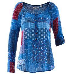 Tunika kreszowana, długi rękaw bonprix niebieski Chagall wzorzysty