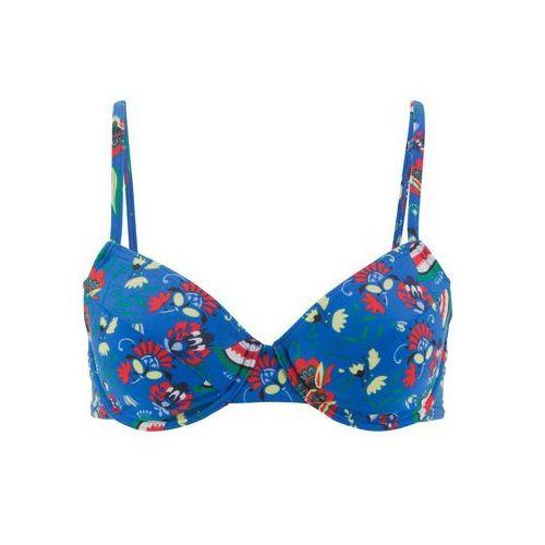 Stroje kąpielowe, Biustonosz bikini na fiszbinach bonprix niebieski z nadrukiem