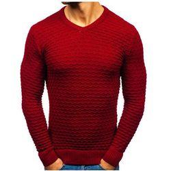 Sweter męski w serek czerwony Denley 6005