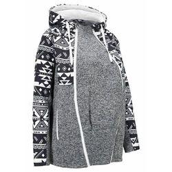 Bluza rozpinana ciążowa z polaru, z wstawką na nosidełko bonprix czarno-kremowy