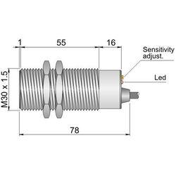 Czujnik pojemnościowy Fi 30 mm SC30SM-C20 PNP NO+NC LC10