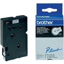Brother oryginalny taśma do drukarek etykiet, Brother, TC-201, czarny druk/biały podkład, laminowane, 8m, 12mm