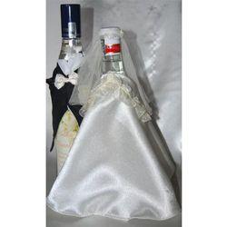 Ubranka na butelkę wódki-falbanka biała róża łosoś
