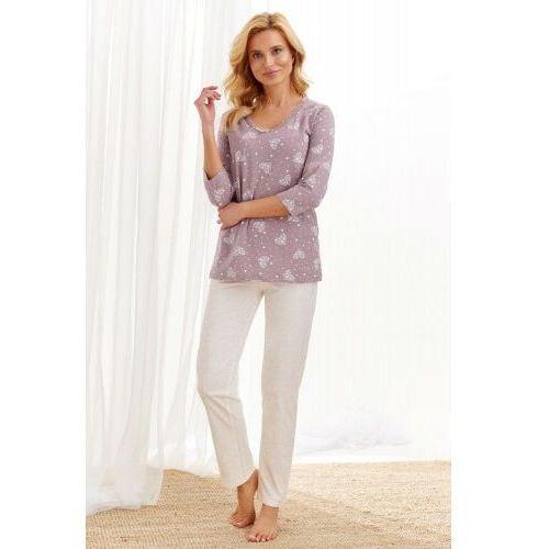 Piżamy damskie, Bawełniana piżama damska TARO 2446 Lidia kakaowa