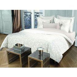Pościel AZZARO z bawełnianego perkalu SOLSTICE - poszwa na kołdrę 200 x 200 cm + 2 poszewki na poduszkę 65 x 65 cm - Kolor taupe i biały