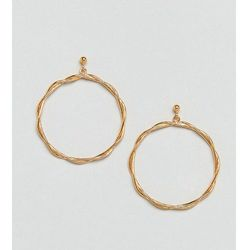 ASOS Gold Plated Sterling Silver Plaited Hoop Earrings - Gold