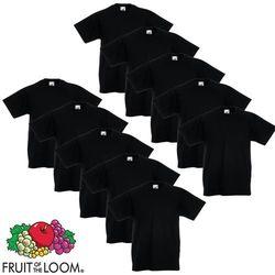 Fruit of the Loom 10 koszulek dla dzieci, 100% bawełny, czarnych, rozmiar 116 cm Darmowa wysyłka i zwroty