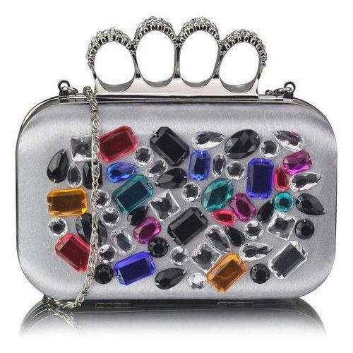 Torebki, Srebrna torebka wizytowa szkatułka z kolorowymi kryształkami - srebrny   kolorowy