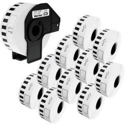 Zestaw 1 + 10 DK-22210 29mm x 30,48m - taśma do drukarki etykiet Brother - zamiennik