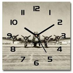Zegar szklany kwadratowy Stary bombowiec