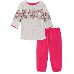 Piżama ze spodniami 3/4 bonprix jasnoszary melanż - czerwień granatu