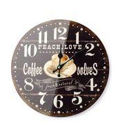 Zegary, ZEGAR WISZĄCY ŚCIENNY DO POWIESZENIA CZARNY COFFE