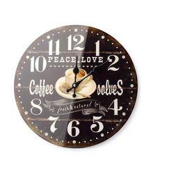 ZEGAR WISZĄCY ŚCIENNY DO POWIESZENIA CZARNY COFFE