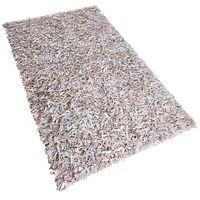 Dywany, Dywan jasnobeżowy - Shaggy - skórzany - mata - 80x150 cm - MUT