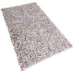 Dywan jasnobeżowy - Shaggy - skórzany - mata - 80x150 cm - MUT