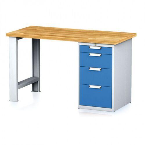 Stoły warsztatowe, Stół warsztatowy MECHANIC, 1500x700x880 mm, 1x szufladowy kontener, 4 szuflady, szary/niebieski