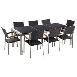 Meble ogrodowe - stół granitowy czarny polerowany 220 cm z 8 rattanowymi krzesłami - GROSSETO
