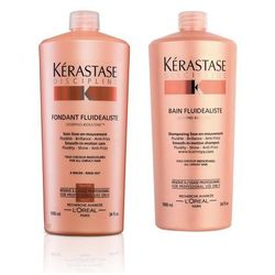 Kerastase Fluidealiste Zestaw dyscyplinujący włosy   szampon 1000ml + odżywka 1000ml