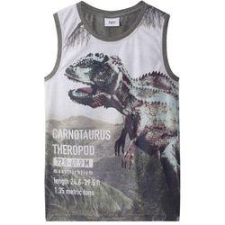Koszulka na szerokich ramiączkach, z nadrukiem dinozaura bonprix szary melanż z nadrukiem