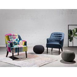 Fotel granatowy - fotel wypoczynkowy - do salonu - tapicerowany - MANDAL
