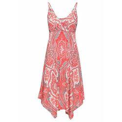 Sukienka z nadrukiem bonprix koralowo-szaro-biel wełny z nadrukiem