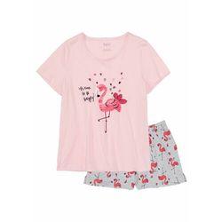 Piżama z krótkimi spodenkami bonprix jasnoróżowo-jasnoszary melanż z nadrukiem