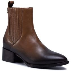 Botki TOMMY HILFIGER - Shaded Leather Flat Boot FW0FW05173 Natural Cognac GTU