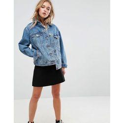 ASOS DESIGN denim girlfriend jacket in midwash blue - Blue