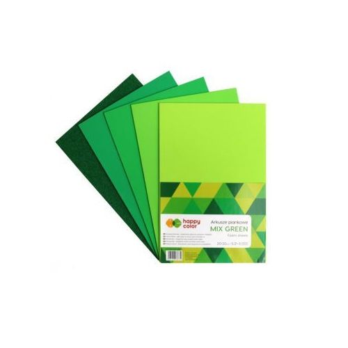 Pozostałe artykuły szkolne, Arkusze piankowe A4 5 kolorów Mix Green mix