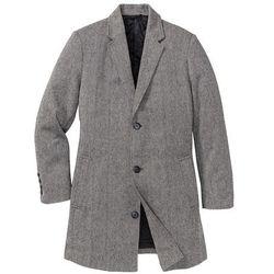 Płaszcz z materiału w optyce wełny Regular Fit bonprix czarno-biały melanż
