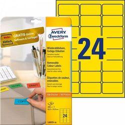 Etykiety usuwalne kolorowe Avery Zweckform A4 20ark./op. 63,5x33,9mm żółte