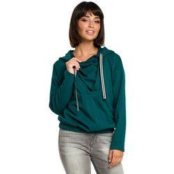 Damska bluza z kapturem z zakładką z przodu zielona B088