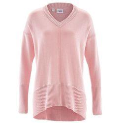 Sweter oversize bonprix pastelowy jasnoróżowy