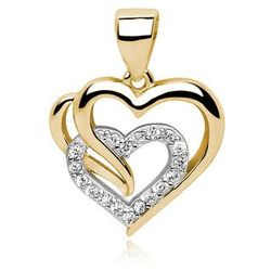 Rodowany pozłacany srebrny wisiorek serce cyrkonia cyrkonie srebro 925 Z0655CGR1