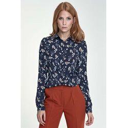 Klasyczna Bluzka Koszulowa Wzór Kwiaty/Granat