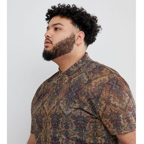Męskie koszulki polo, ASOS DESIGN Plus relaxed polo with all over tapestry print in linen look - Multi