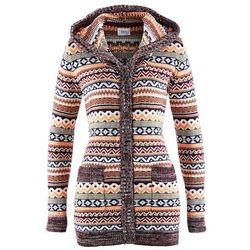Sweter rozpinany z kapturem bonprix wzorzysty