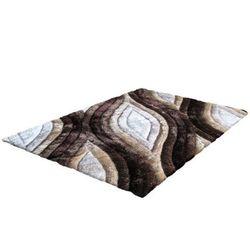Dywan shaggy z efektem 3D MARLA - 100% poliestru - kolor brązowy i beżowy - 160 x 230 cm