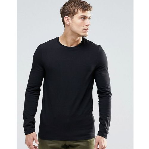 Koszulki z długim rękawem, ASOS Muscle Long Sleeve T-Shirt With Crew Neck In Black - Black