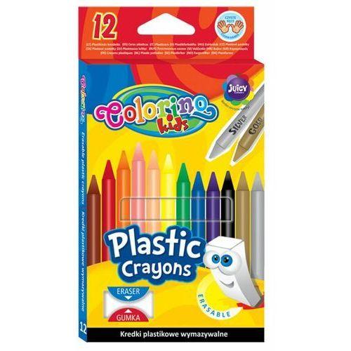 Kredki, Kredki Colorino Kids Świecowe Okrągłe Plastikowe Wymazywalne Z Gumką 12 Kolorów