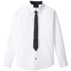 Koszula z krawatem (2 części) Slim Fit bonprix biały